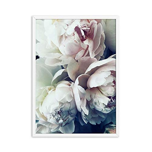 N / A Nordic elegant blooming peony flower canvas painting poster and photo wall painting art living room home frameless decorative painting A52 50x70cm