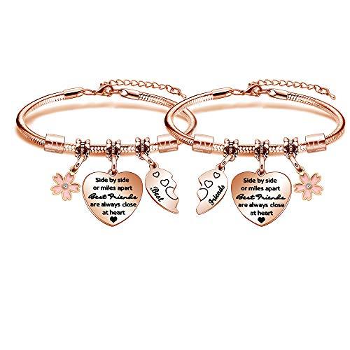 Meagoex 2 pulseras hermosas para los mejores amigos grabadas en forma de corazón chapado en oro rosa brazaletes pulseras mujeres joyería de moda