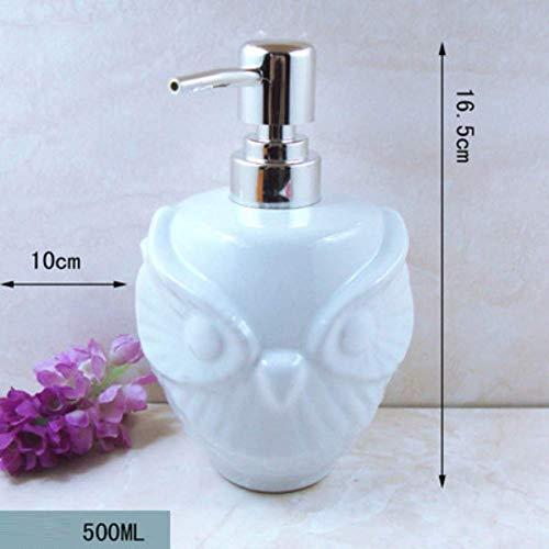 Zidao Seifenspender/Keramik Lotion Flasche Duschgel Shampoo Sub-Flasche Weiße Eule Seifenspender Für Badezimmer Hotel Klubhauskeramik Lotion Flasche Duschgel Sham,Weiß