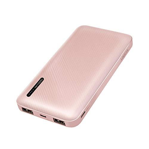 LogiLink PA0257R - Power Bank 10000mAh Litio-Polímero + Cable 2 en 1 Color Oro Rosa
