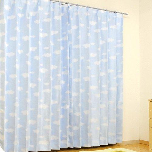 雲 柄 形状 記憶 カーテン 『 クラウド 』 幅100cm × 丈135cm 2枚組 ブルー