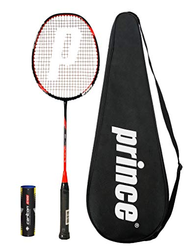 Prince PRO Nano 75 Graphite Badminton Racket Series with Full Protective Cover 6 Shuttles Various Options Pro Warrior Graphite 6 Shuttles