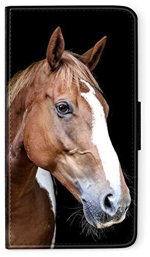 blitzversand Flip Case Sunset Horse Pferd kompatibel für Samsung Galaxy A20E Lange Nase Pferd braun Handy Hülle Leder Tasche Klapphülle Brieftasche Etui r& um Schutz Wallet M13