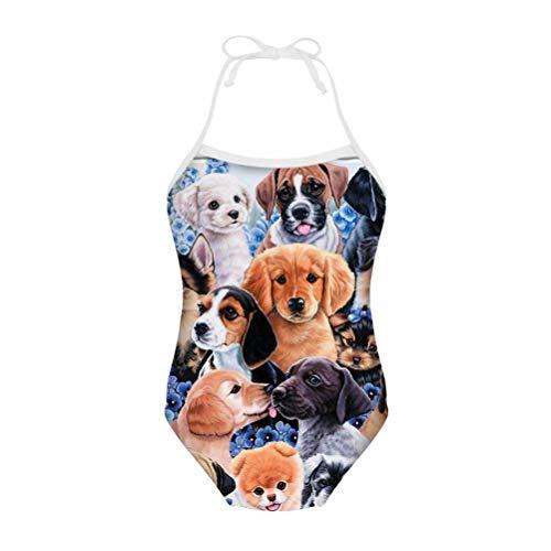 chaqlin Einteiliger Badeanzug für Kinder, Mädchen, Sommer, Strand, Bademode, Bikini, Badeanzug, ärmellos, Gymnastikanzug, für 3-8 Jahre alt Gr. 7-8 Jahre, Tier-Hund