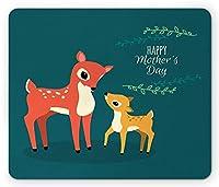 母の日快適滑り止めマウスパッド、漫画スタイルの鹿家族幸せな母の日テキスト、標準サイズの長方形滑り止めゴム快適滑り止めマウスパッド、多色の野生の森林動物