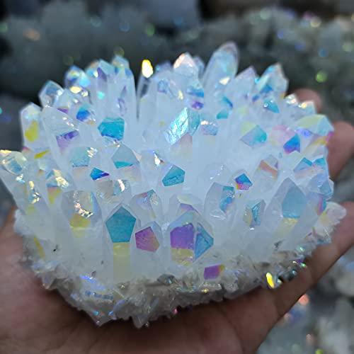 KUYIN 300-1100G Bianco Quartz Crystal Cluster Electroplated Color Point Shiny RockQuartz Ornament Healing Home Decor Regalo Ornamenti (Color : 350-400g)