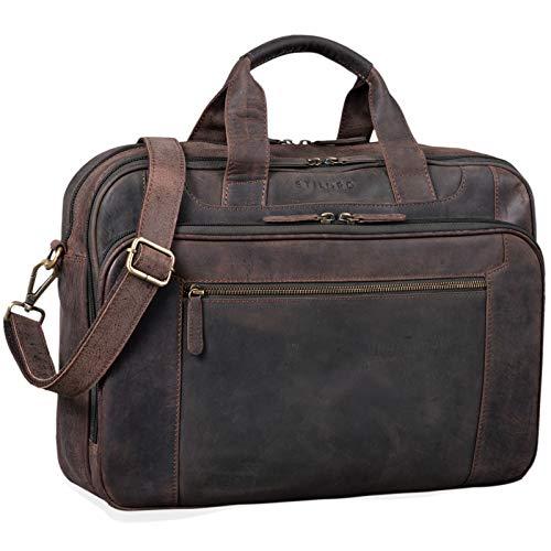 STILORD \'Nelson\' Businesstasche Herren Leder 15,6 Zoll Laptoptasche Groß Aktentasche Umhängetasche aus Vintage Rindsleder, Farbe:dunkel - braun