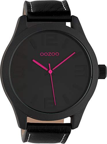 Oozoo Damenuhr mit Lederband 47 MM Schwarz/Schwarz/Pink C1068