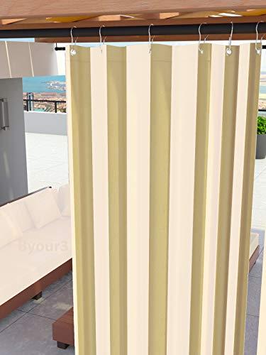 Toldos para exteriores con anillos colgantes Tejido antimoho impermeable Tejido de algodón recubierto de resina Toldo para balcones Terrazas Gazebos Caravanas tamaño maxi (Rayas Beige  x 290cm)