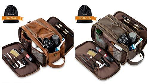 Elviros Toiletry Bag for Men, Large Travel Shaving Dopp Kit Water-resistant Bathroom Toiletries Organizer PU Leather Cosmetic Bags (Brown+Dark coffee)