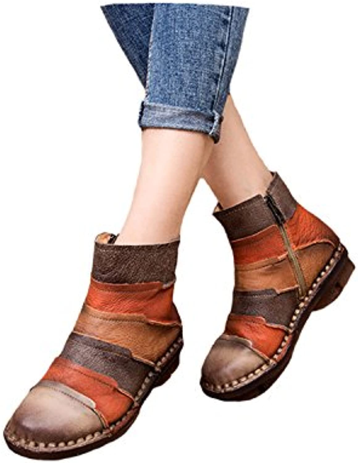 Women Ankle shoes Vintage Handmade Motorcycle Short Boots Genuine Leather Boots