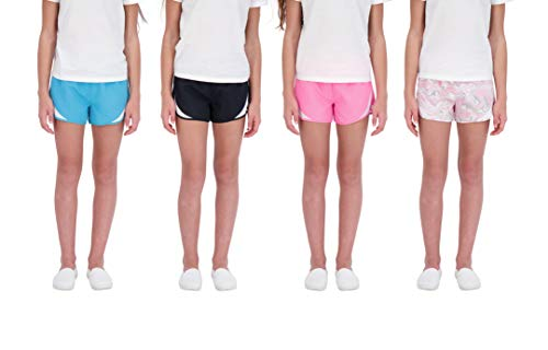 Hind Kids Girls 4-Pack Athletic and Running Activewear Shorts (Pink-Pink-Black-Teal, 10-12)