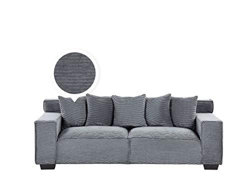 Cómodo sofá de 3 plazas de pana con 5 cojines, color gris oscuro