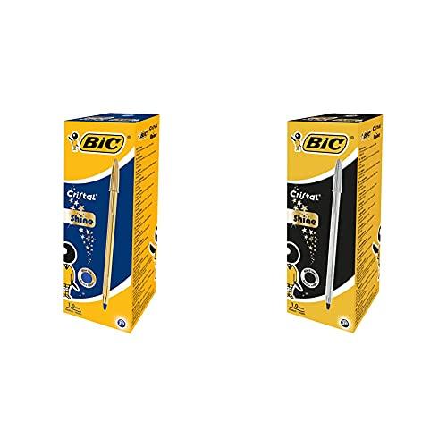 BIC Cristal Shine Bolígrafos de punta media, caja de 20 unidades + Cristal Shine Bolígrafos Punta Media Tinta Negra y Cuerpo Plateado, Caja de 20 Unidades, ideal para uso diario