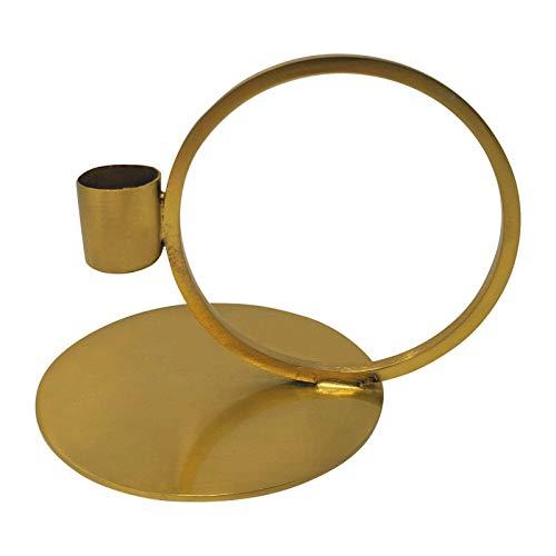 LaLe Living Kerzenhalter Geo aus Eisen in matt Gold, 14x10cm, geeignet für eine Stabkerze als Dekoration auf jedem Couchtisch, Schreibtisch, Fensterbank oder als scandic Weihnachtsdeko