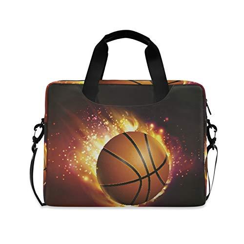 Bolsa de hombro para portátil compatible con portátiles de 14 a 15,6 pulgadas, Flying Basketball On Fire