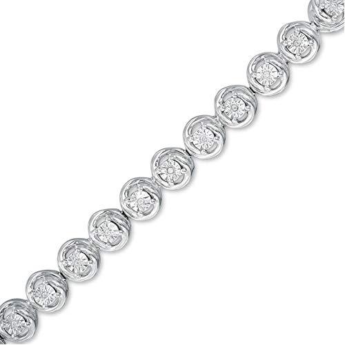 SLV Pulsera de tenis de corte redondo de 1,60 quilates con diamante transparente de imitación para ella, regalo en plata de ley 925