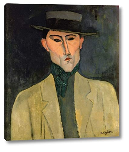 """Man witih Hat by Amedeo Modigliani - 14"""" x 16"""" Gallery Wrap Canvas Art Print - Ready to Hang"""