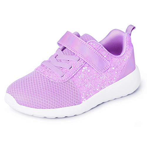 Harvest Land Girls Sneakers Glitter Fashion Running Shoes Mesh Breathable Hook and Loop Slip-on Tennis Shoes (Toddle/Little Kids/Big Kids) Purple