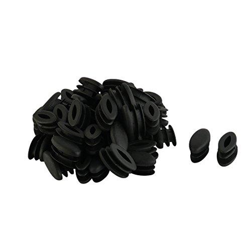 Sourcingmap Pieds Table désign Ovale en Plastique Tuyau Tube Insérer Fin Boîte quette Noire 15 mm x 30mm 50 pièces