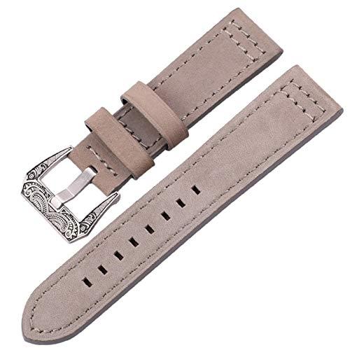 MOLUO Correa de Cuero Genuino 20mm 22mm 24mm Banda de Reloj Negro Marrón Azul Grises del Reloj de la Correa de Accesorios (Band Color : Gray, Band Width : 22mm)