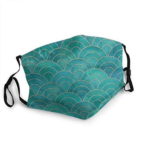 CAP PILLOW HOME Mascarilla transpirable para la cara, diseño de ondas de pez, color verde azulado, funda para la boca, reutilizable, lavable, para ciclismo, camping, viajes, unisex