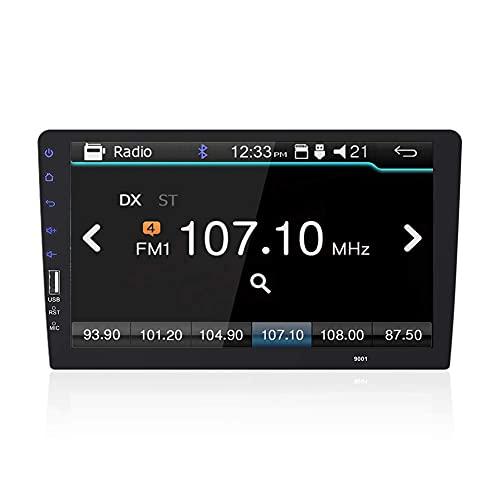 Radio de coche Single Din Pantalla táctil de 9 pulgadas Estéreo de coche FM con D-Play Bluetooth USB Cámara de visión trasera Entrada Soporte Mirror Link para Android