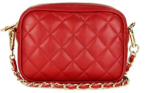 Belli italienische Echt Nappa Leder Abendtasche Damentasche kleine Umhängetasche zum Ausgehen gesteppt in rot rosso - 18x13x7 cm (B x H x T)