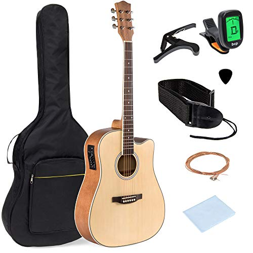 Best Choice Products 41in Full Size Acoustic Electric Cutaway Guitar Set w/Capo, E-Tuner, Bag, Picks, Strap - Natural