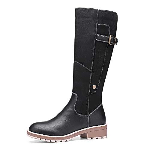 Camfosy Botas para Mujer Botas de Invierno hasta la Rodilla Botas Altas con Forro de Piel Zapatos cálidos de tacón bajo Botas largas para la Nieve Calzado Informal Retro Negro Marrón Gris Black
