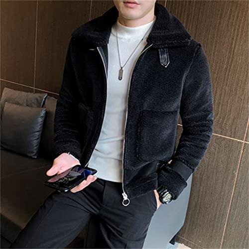 JJWC Abrigos De Lana De Cordero Para Hombres Chaqueta De Bolsillo Grande Streetwear Zipper Outwear Casual Grueso Cálido Invierno (Color : Black, Size : 2xl)