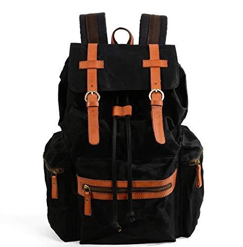 Wayamiaow multifunctionele retro rugzak school laptoptas wandelen reizen rugzak mannen en vrouwen (kleur: zwart)