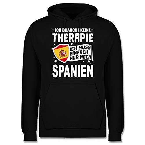 Shirtracer Länder - Ich Brauche Keine Therapie Ich muss einfach nur nach Spanien - weiß - M - Schwarz - Statement - JH001 - Herren Hoodie und Kapuzenpullover für Männer