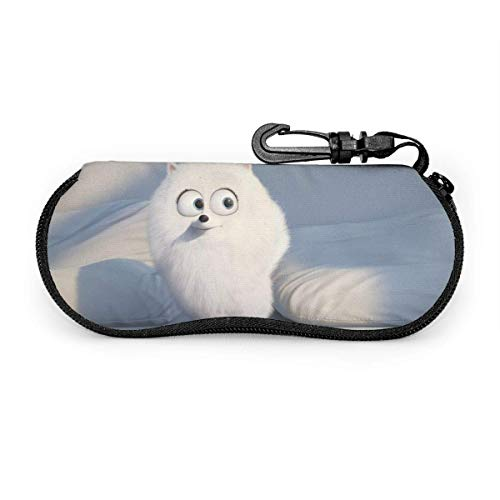 Glasses Case With Carabiner Hook,Cartoon The Secret Life Of Pets Soft Spectacle Case,Ultra Light Sunglasses Pouch,Unisex Portable Eyeglasses Bag,Size 8X17 Cm