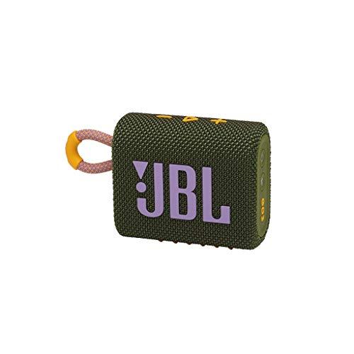 JBL GO 3 - Altavoz inalámbrico portátil con Bluetooth, resistente al agua y al polvo (IP67), hasta 5h de reproducción con sonido de alta fidelidad, verde
