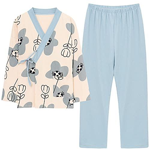 KKLLHSH Conjunto de Pijamas de algodón de otoño para Mujer, Ropa de Dormir de Manga Larga con Cuello en V para Mujer, Ropa de casa Informal Holgada de Gran tamaño-Blue_XXL