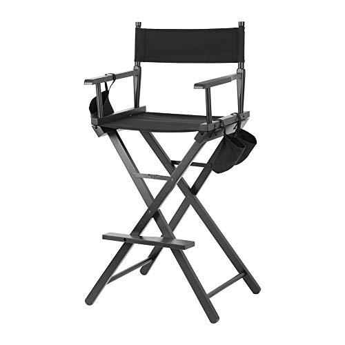 EBTOOLS Regiestuhl Make Up Stuhl Schminkstuhl Holz Regiestühle Klappstuhl Campingstuhl Angelstuhl Gartenstuhl Make-up-Hocker mit Seitentaschen, schwarz, 119,5 cm