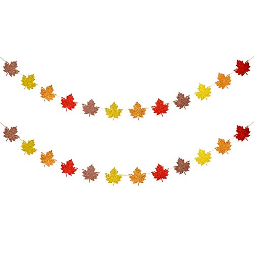 2Pcs Glittery Fall Leaves Garland for Thanksgiving Holiday Party Decorations,Fall Theme Party Decor,Fall Autumn Mantle Home Decor