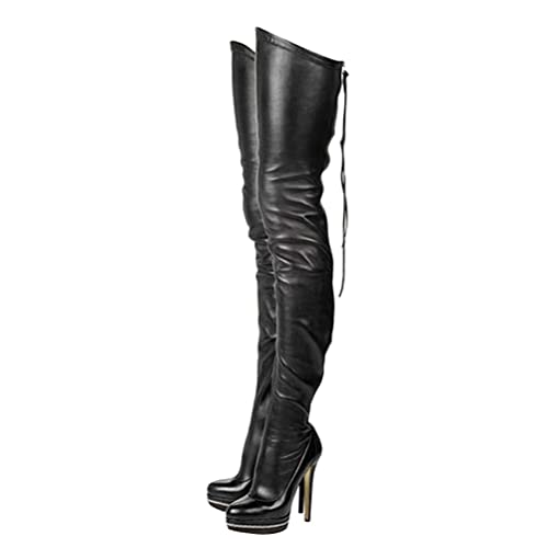 f15fad5679d82 Stupmary Women Platform Boots Round Toe Over The Knee High Heels Boots  Zipper Lace Up Bootie