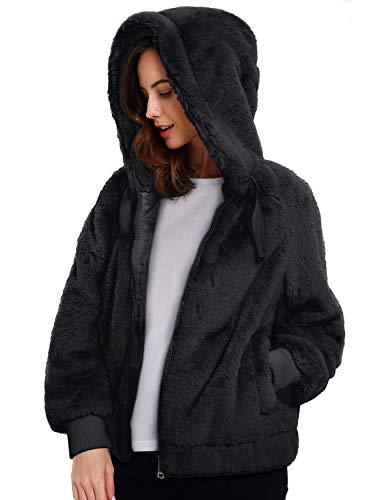 Geschallino Damen Soft Kunstpelz Kapuzenjacke, 2 Taschen Kurzmantel Outwear Warm Fluffy Fleece Tops für den Winter, Frühling, Schwarz, XL