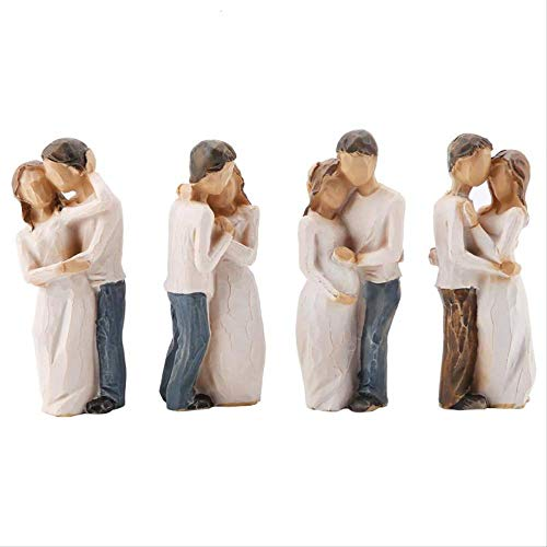 LISAQ Love Couples Shape Resin Figurine Decoration Statue Model Sculptures Valentine's Day Home Decor(4 Pack)