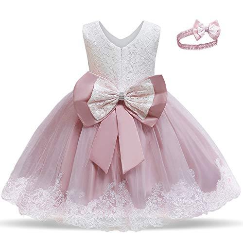 TTYAOVO Baby Mädchen bestickte Tüll Blume Prinzessin Hochzeit Geburtstagsfeier Kleid Größe 100 (2-3 Jahre) Hellrosa01