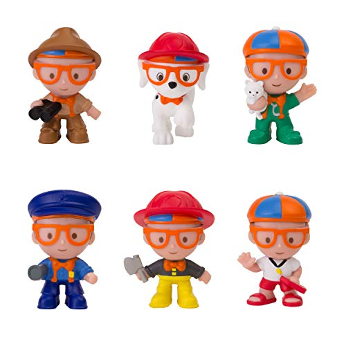 """Blippi Mini Heroes Squishables Mystery 6 Pack - 2"""" Character Toy Figure: Police Officer, Lifeguard, Vet, Firefighter, Park Ranger, Plus Firehouse Dog - Educational Toys for Children and Toddlers"""