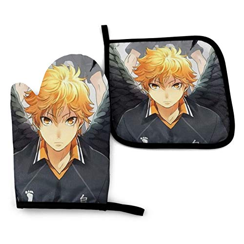 Hinata &Amp; Kageyama Heat Resistant Oven Mitts and Pot Holder Kitchen Cooking Baking BBQ Griling...