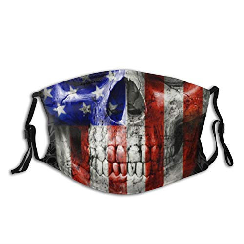 American Flag Art Skull Face Mask Bandanas Balaclava, Washable Breathable With 2 Filters, For Men Women &Teenage