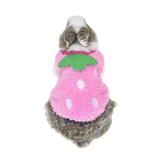 ZLALF Costumes pour Animaux De Compagnie De Lapin d'halloween Vêtements Chauds pour Animaux Drôles Vêtements De Lapin Chauds pour l'hiver Tenues De Déguisement De Furet pour Petits Animaux,Pink-3S