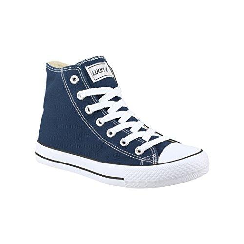 Elara Unisex Kult Sneaker Bequeme Sportschuhe fur Damen und Herren High Top Textil SchuheChunkyrayan Farbe :-Dk.Bleu, Gr:-42 EU