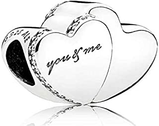 Two Hearts Silver Charm with Clear Cubic Zirconia 796560CZ