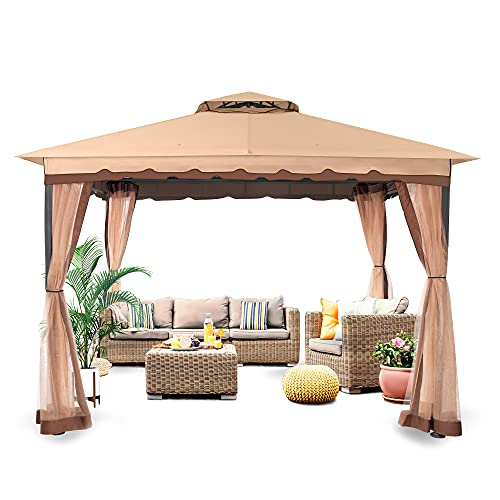 FAB BASED 10x13 Gazebo for patios, Double Gazebo Canopy Soft Top, Canopy Patio with Netting(Khaki)