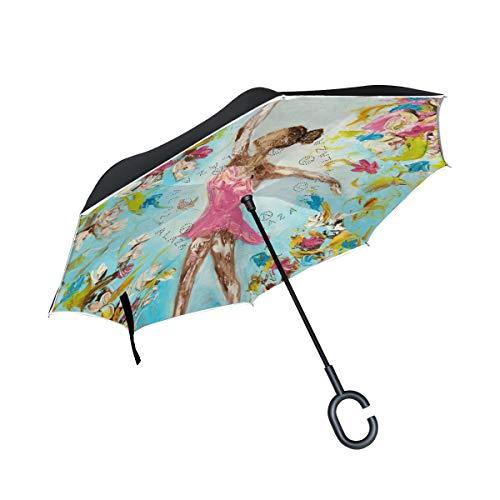 MALPLENA Ballerinas-Ballett-M?dchen-Muster Auto Regenschirm auf den Kopf Reverse Inverted Umbrellas für Frauen/Männer/Auto/Regen im Freien wasserdicht Winddicht